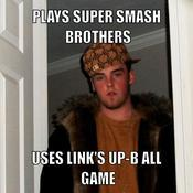Plays super smash brothers uses link s up b all game 093183