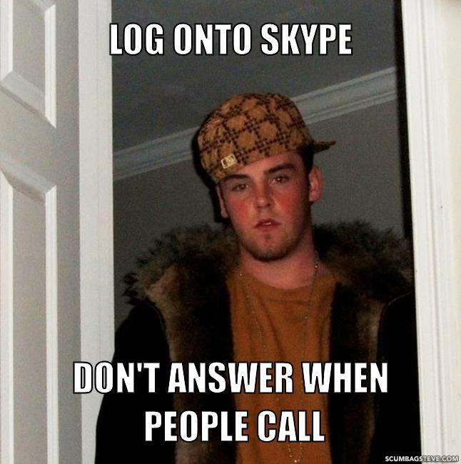 Log onto skype don t answer when people call b1d901
