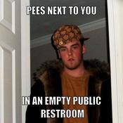 Pees next to you in an empty public restroom 816548