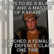 Claims to be a black belt and a master of karate watched a female self defence class one time c23e3a