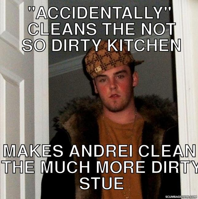 Accidentally cleans the not so dirty kitchen makes andrei clean the much more dirty stue 155312
