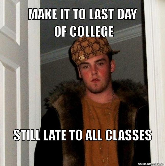 Make it to last day of college still late to all classes e1c1ad