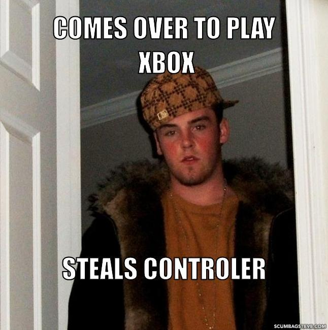 Comes over to play xbox steals controler b72483