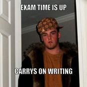 Exam time is up carrys on writing 5ba391