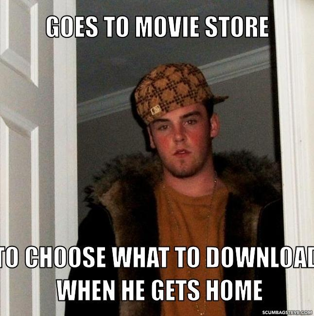 Goes to movie store to choose what to download when he gets home f09565