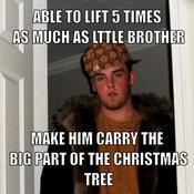 Able to lift 5 times as much as lttle brother make him carry the big part of the christmas tree 08317f