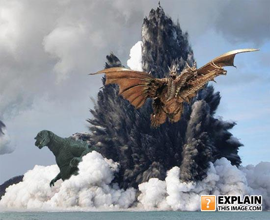 Godzilla vs ghidorah off the coast of tonga
