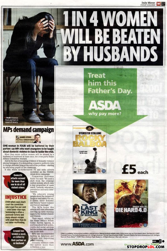Unfortunate fathers day ad placement